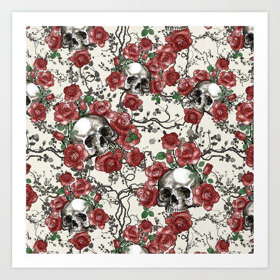 Skulls and Roses or Les Fleurs du Mal Art Print