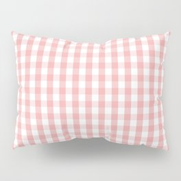 Large Lush Blush Pink and White Gingham Check Pillow Sham