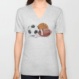 Sports Balls Watercolor Painting Unisex V-Neck