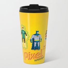 Justice League of America - Pixel Nostalgia Metal Travel Mug