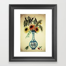stitches of flowers. Framed Art Print