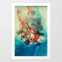 tye dye Art Prints featuring Dye by Victoria Shapow