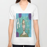 hero V-neck T-shirts featuring Hero by Leanne Schuetz Mixed Media Artist
