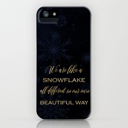 We are like a snowflake - gold glitter Typography on dark background iPhone Case