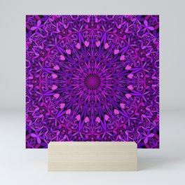 Purple Leaves Kaleidoscope Mandala Mini Art Print