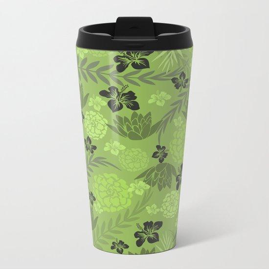 Greenery Floral Metal Travel Mug