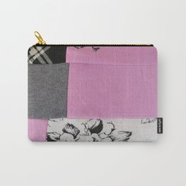"""patchwork pink and black """" Unattainable"""" Carry-All Pouch"""
