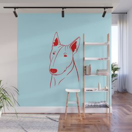 Bull Terrier (Light Blue and Red) Wall Mural