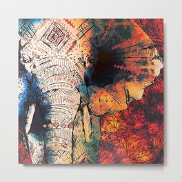 Indian Sketched Elephant Red Orange Metal Print