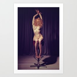 Tied up nude woman on a bar stool Art Print