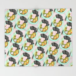 Ramen Cats Pattern Throw Blanket