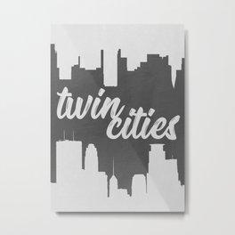 Twin Cities   Minneapolis and Saint Paul Minnesota   Black and White Metal Print