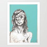 Sensual Cyan Art Print