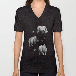 Rhino's Grazing - Black & White Unisex V-Neck
