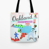 oakland Tote Bags featuring Oakland by June Chang Studio