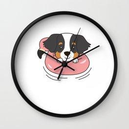 Dog Berner Sennen Flamingo Swim Ring Summer Wall Clock
