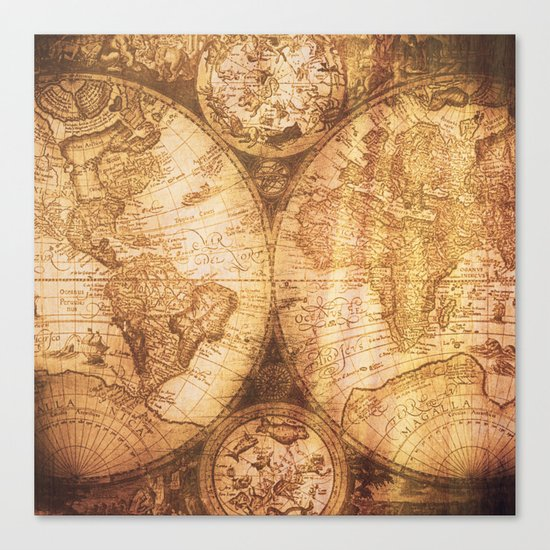Antique World Map on Wood Canvas Print