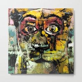 Lion Eyes Abstract Human Animal Illustration Metal Print