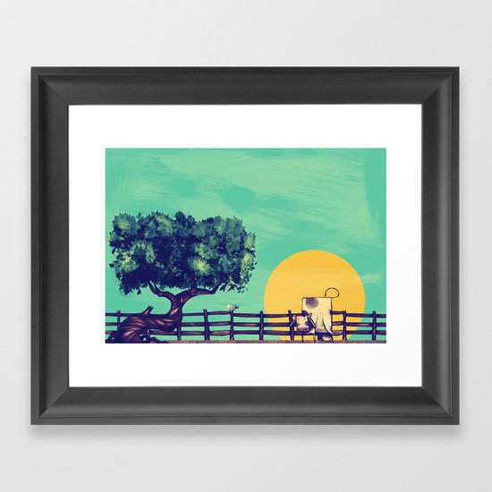 Cow Sunset Framed Art Print