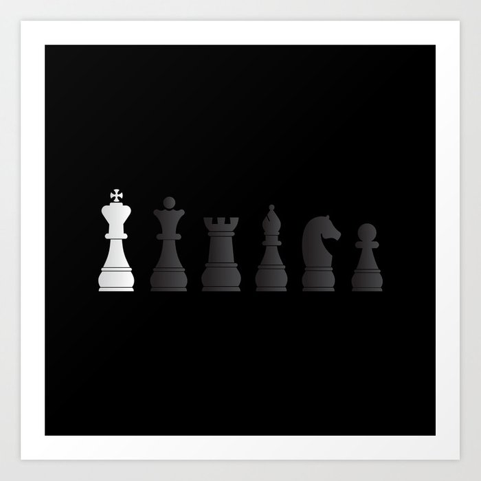 All Black One White Chess Pieces Art Print