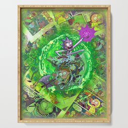 Rick & M - Dungeons and Dragons Comic Collage Portal Comic Book Art Serving Tray
