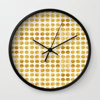 gold dots Wall Clocks featuring Gold Dots by MORE BY JAMIE PRESTON