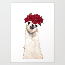 Sexy Llama with Roses Crown Art Print