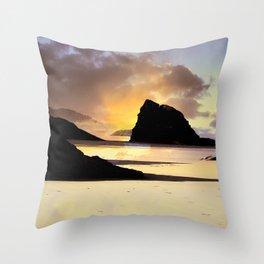Hug Point Gold Light Throw Pillow