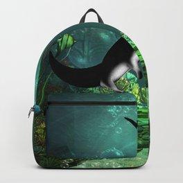 Wonderful manta rays in the deep ocean Backpack