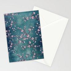 SAKURA LOVE  GRUNGE TEAL Stationery Cards