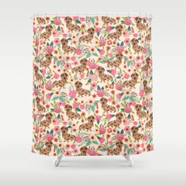Dapple cream Dachshund doxie floral florals dog breed gifts for pupper must haves Shower Curtain