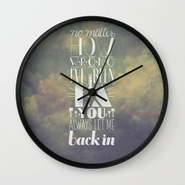 let me back in Wall Clock