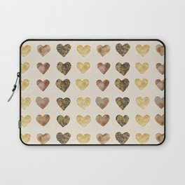 Gold and Chocolate Brown Hearts Laptop Sleeve