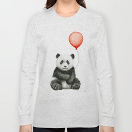 Baby Panda and Red Balloon Long Sleeve T-shirt