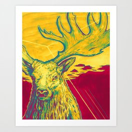 Stag Dimension of Yellow Art Print
