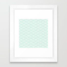 Mint Green Seigaiha Sea Wave Nautical Minimalist Framed Art Print