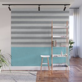 Blue and gray stripes and color block Wall Mural