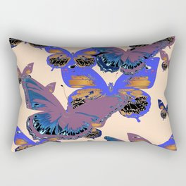 BLUE-PUCE PURPLE  BUTTERFLIES  CREAM COLOR ART Rectangular Pillow