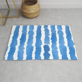 Shibori Classic Blue Hand Drawn Watercolor Strokes Rug