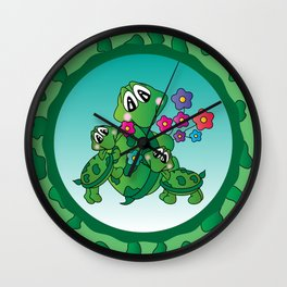 Momma Turtle and her Kids Wall Clock
