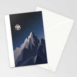 Icy Mountain Summit D20 Dice Night Tabletop RPG Landscape Stationery Cards