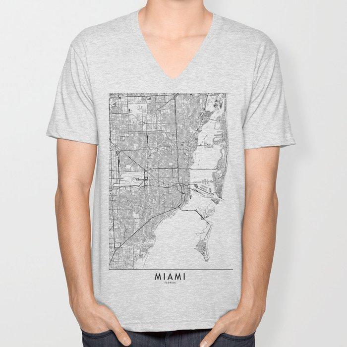 Miami White Map Unisex V-Neck