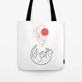 Cat with Ball of Yarn Tote Bag