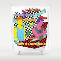 battlefield Shower Curtains featuring Love is a battlefield by JetProArt