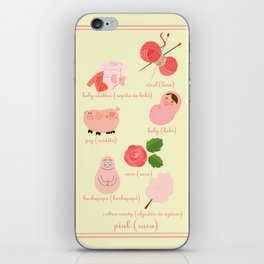 Colors: pink (Los colores: rosa) iPhone Skin