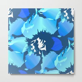 Large Turquoise White Blue Flowers Retro Summer Mood Dark Blue Background #decor #society6 #buyart Metal Print
