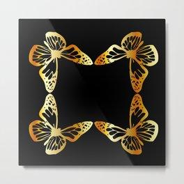 Golden butterflies flying against black Metal Print