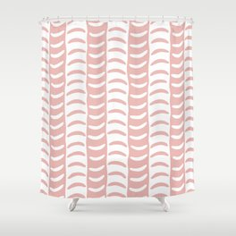 Wavy Stripes Dusty Rose Shower Curtain