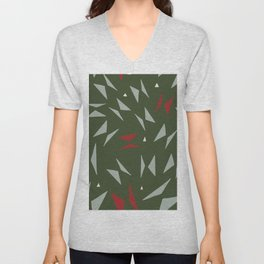 Geometric forest green red hand painted triangles Unisex V-Neck