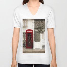 Red Telephone Booth Sepia Spot Color Photography Unisex V-Neck